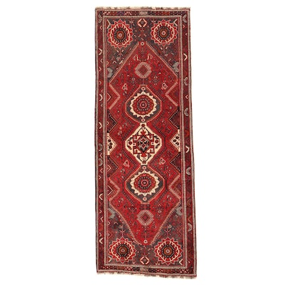 3'8 x 10'1 Hand-Knotted Persian Qashqai Wool Long Rug