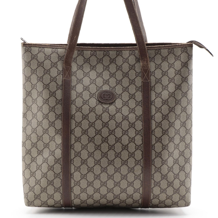 Gucci Accessory Collection Tall Tote in GG Supreme Canvas and Brown Leather