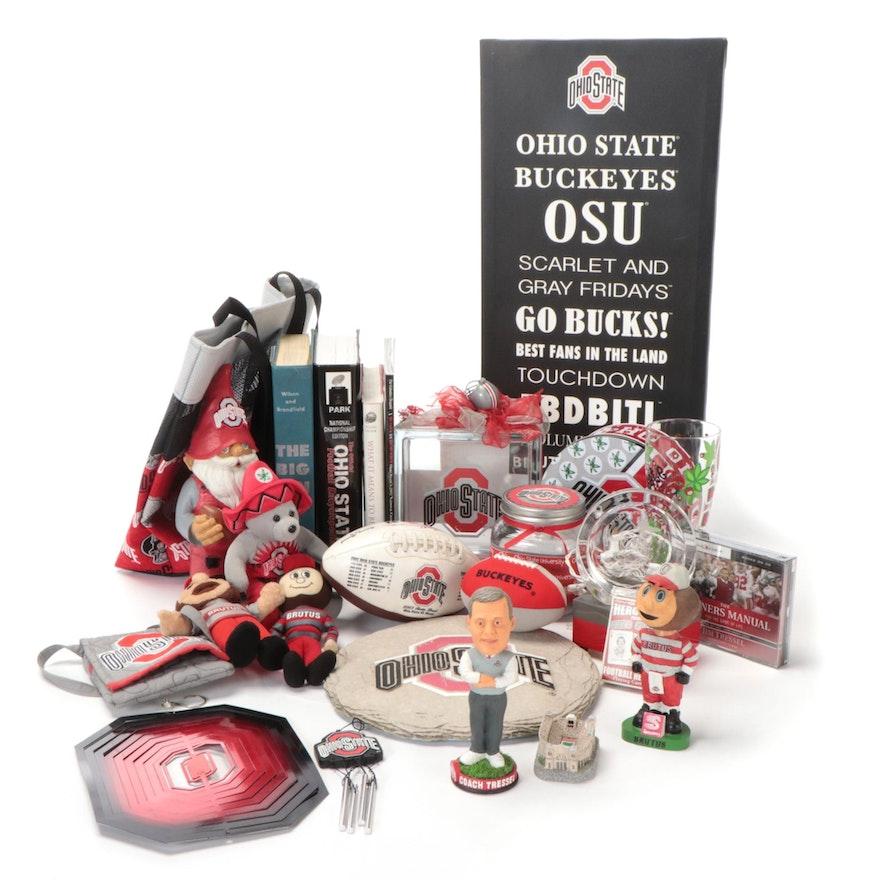 Ohio State University Memorabilia Including Bobbleheads, Books, Garden Gnome