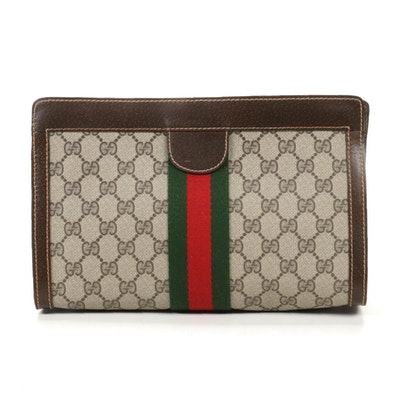 Gucci Parfums Web Stripe Cosmetics Bag in GG Supreme Canvas and Leather