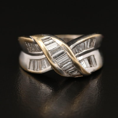 14K Diamond Crossover Channel Ring