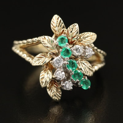 14K Diamond and Emerald Foliate Ring