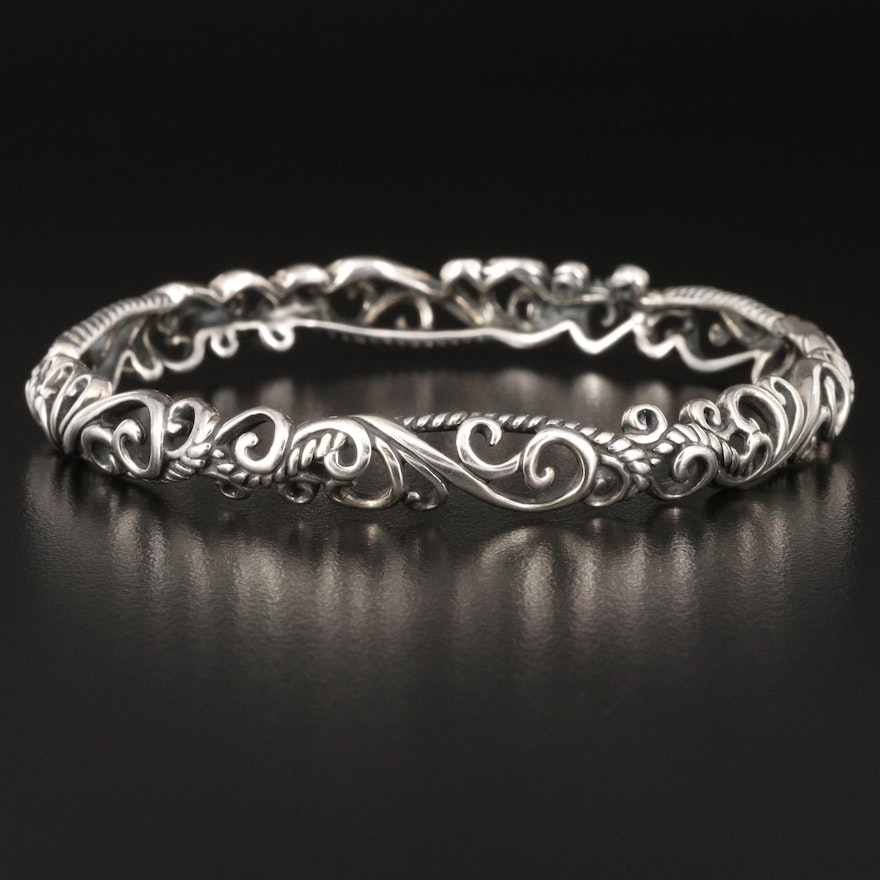 Carolyn Pollack for Relios Sterling Scrollwork Bangle