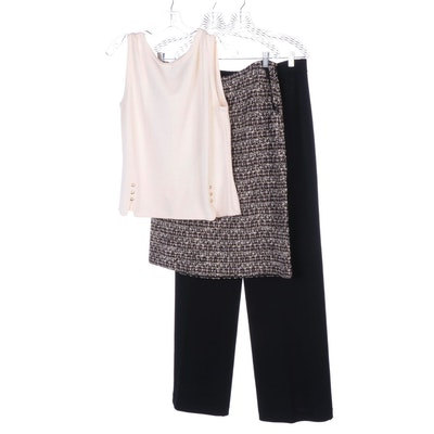 St. John Tweed Skirt, Knit Shell Top, and Wide Leg Knit Pants