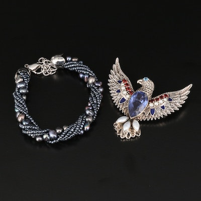 Nicky Butler Quartz Doublet Eagle Brooch and Pearl Torsade Bracelet with Garnet