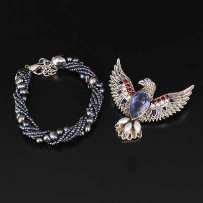 Nicky Butler Pearl Torsade Bracelet with Garnet and Quartz Doublet Eagle Brooch