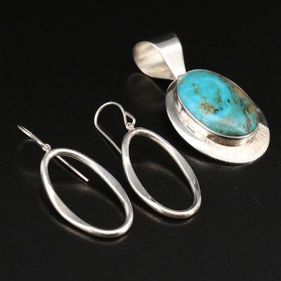 Sterling Hoop Earrings Featuring Desert Rose Trading Co. Turquoise Pendant
