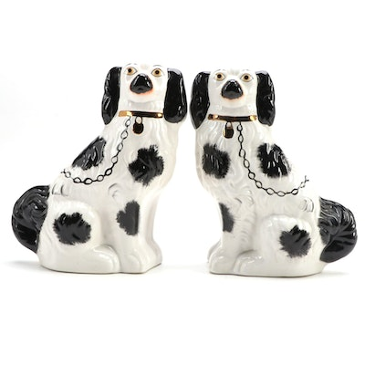 Pair of Staffordshire Black and White Spaniel Figurines, Late 19th-Early 20th C.