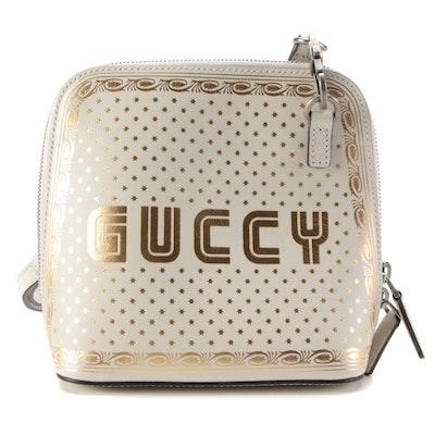 "Gucci Sega Moon & Stars ""GUCCY"" Print Mini Crossbody Bag in Off-White Leather"
