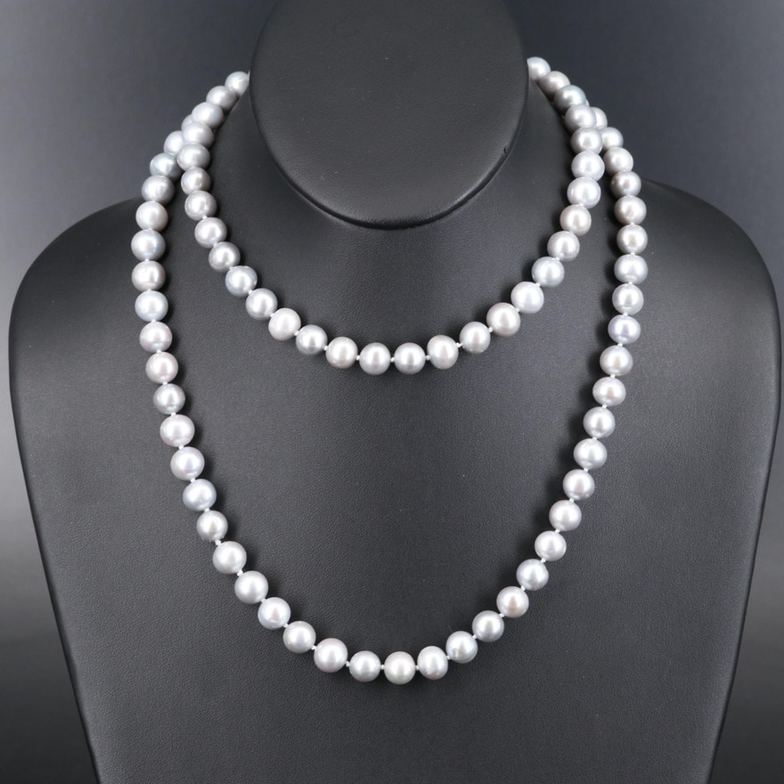 Opera Length Pearl Necklace with 14K Fluted Clasp