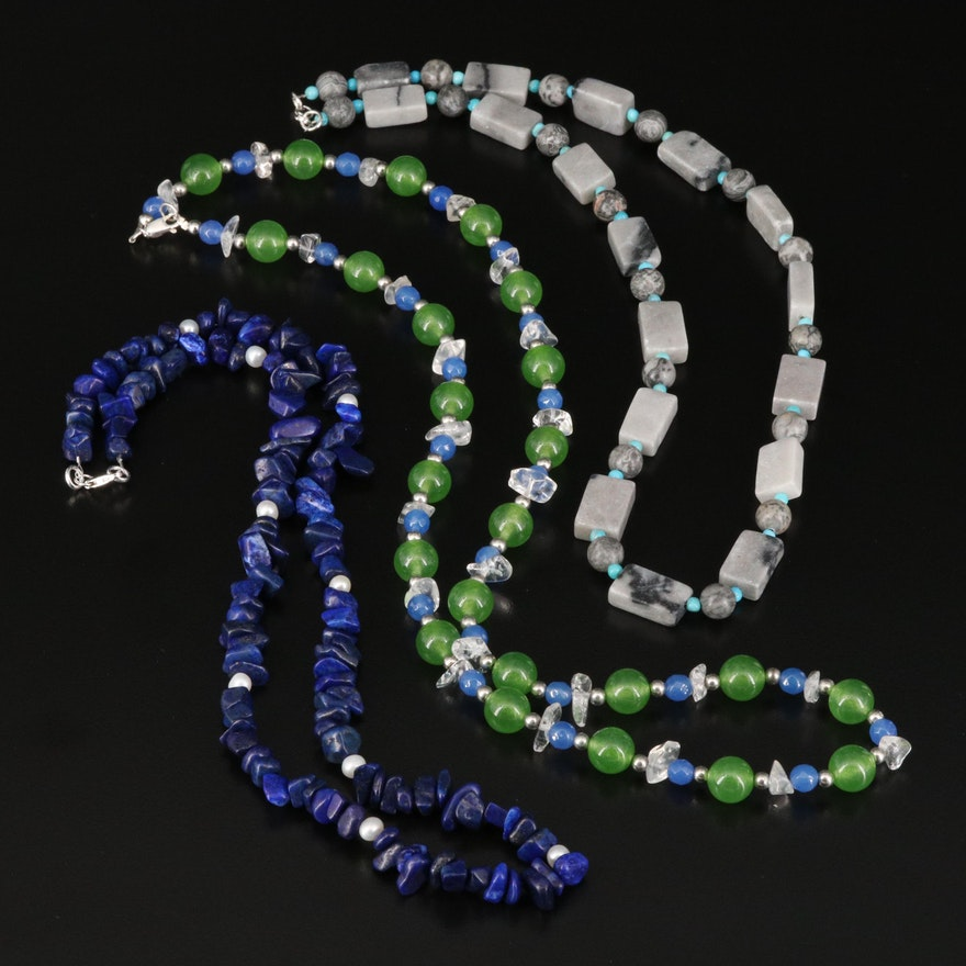 Beaded Necklace Selection Featuring Lapis Lazuli, Pearl, Jasper and Quartz