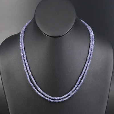Tanzanite Double Strand Necklace with Sterling Clasp