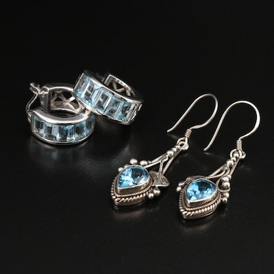 Sterling Topaz Earrings Featuring Nepalese Swiss Blue Topaz Foliate Earrings