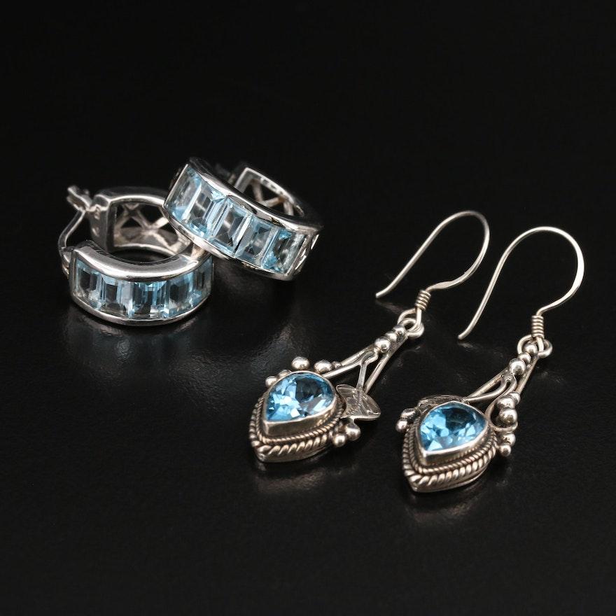 Sterling Topaz Earrings Featuring Nepalese Swiss Blue Topaz Foliate Earrings
