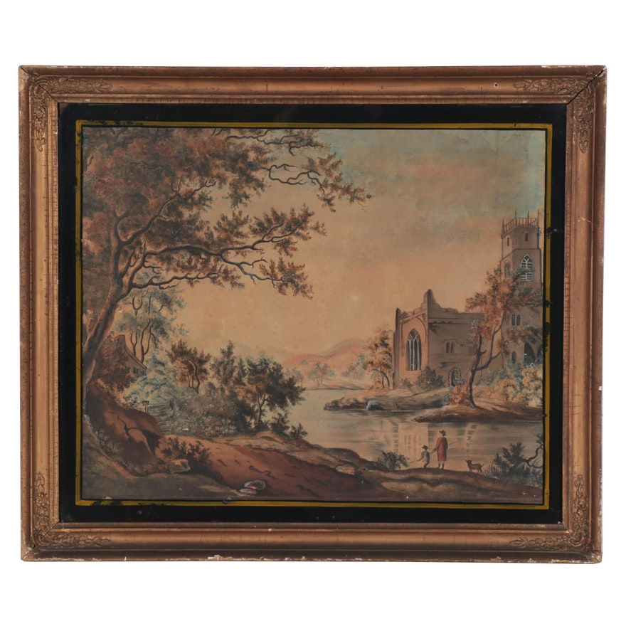 Agnes Vance Landscape Watercolor Painting with Church, Mid-19th Century