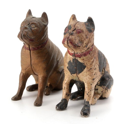 Pair of Cold-Painted Cast Iron Sitting Bulldog Coin Banks, Mid-20th Century