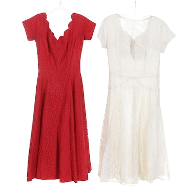 Red Lace and White Lace Cocktail Dresses with Scalloped and Sweetheart Necklines