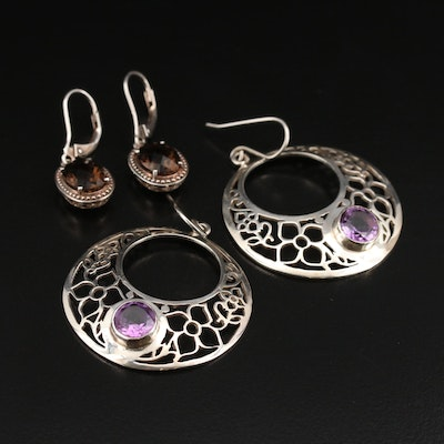 Sterling Smoky Quartz Earrings and Nepalese Amethyst Floral Openwork Earrings