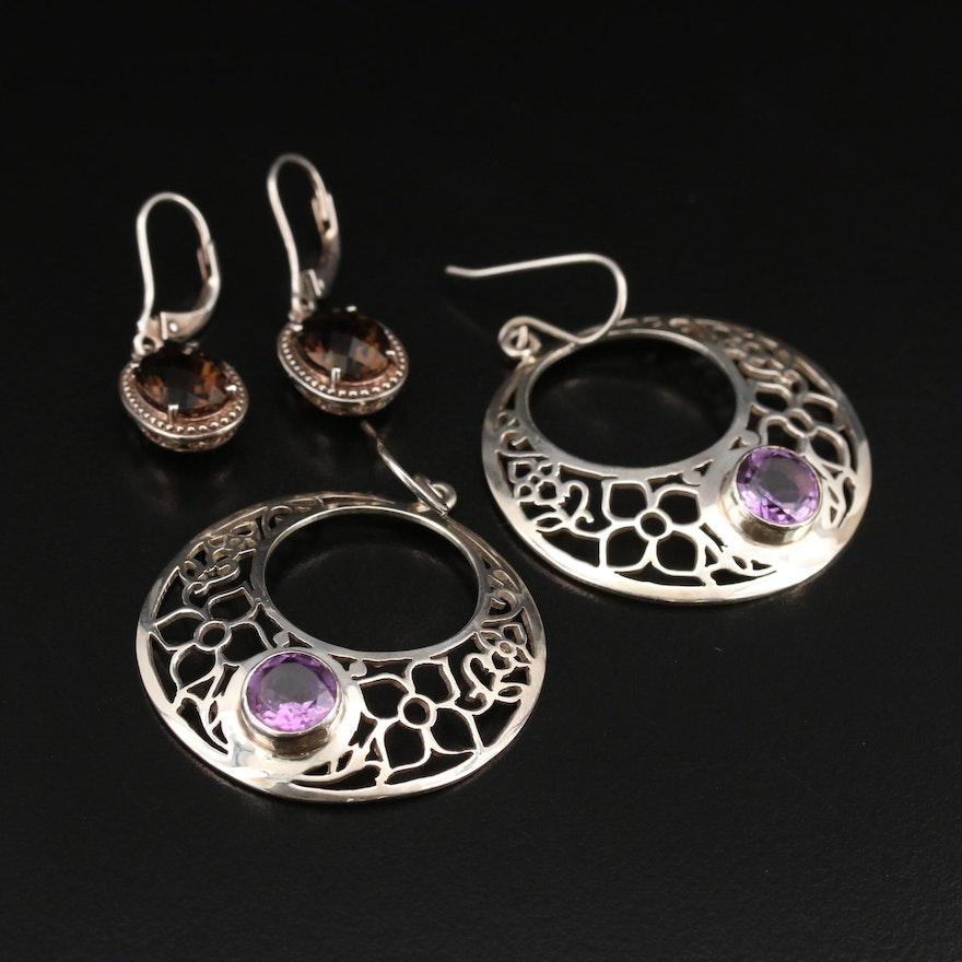 Sterling Smoky Quartz Earrings and Nepalese Amethyst Floral Openwork Earrings