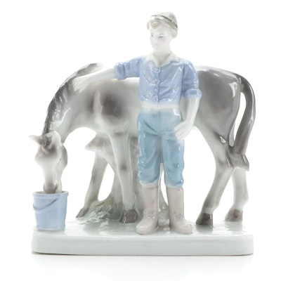 Blue Danube China Figurine of Boy with Horse