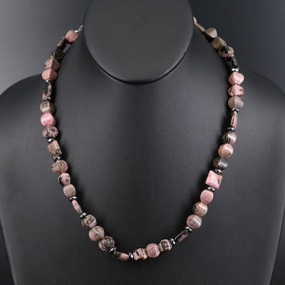 Sterling Rhodonite and Hematite Bead Necklace