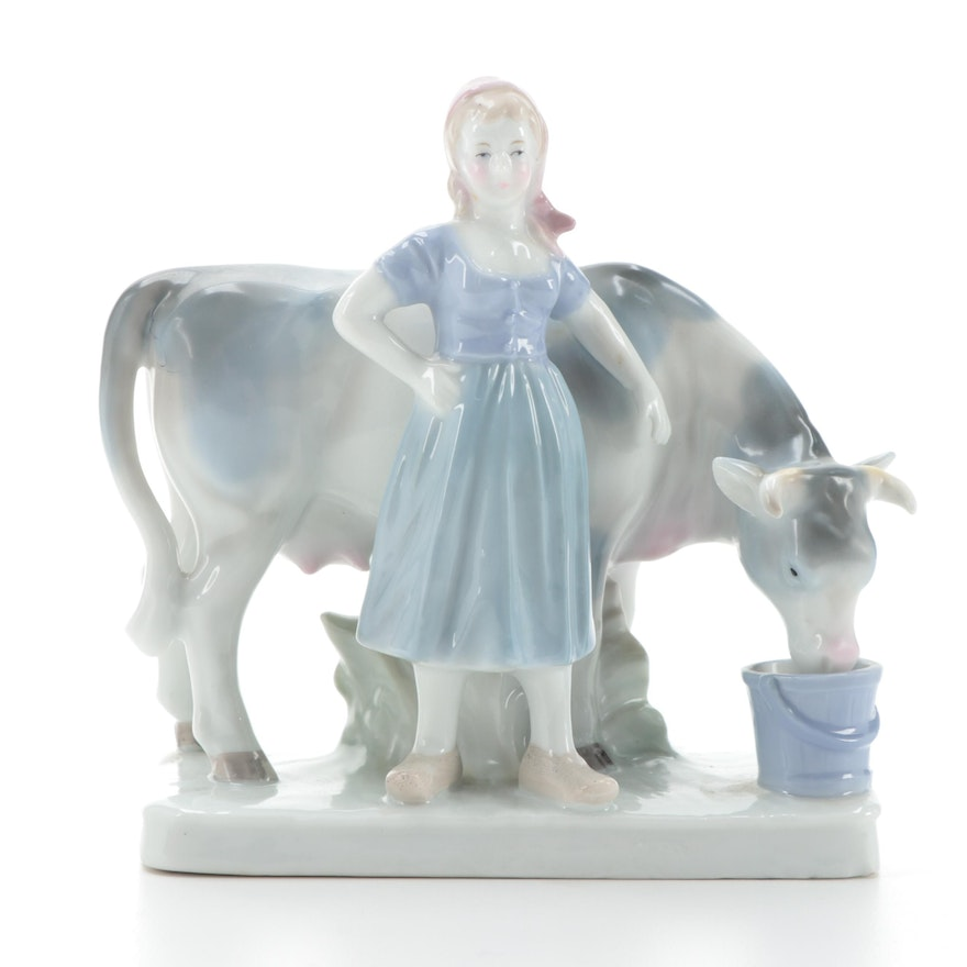 Blue Danube China Milkmaid Figurine, Mid to Late 20th Century