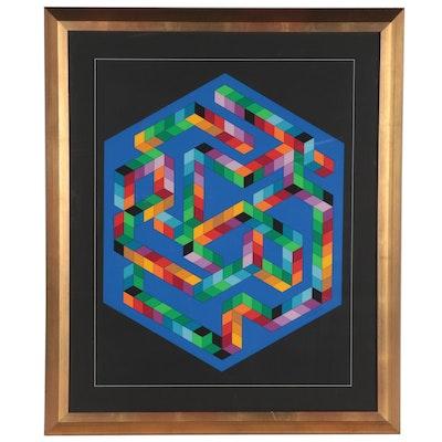 """Victor Vasarely Serigraph """"Babel-3,"""" circa 1978"""
