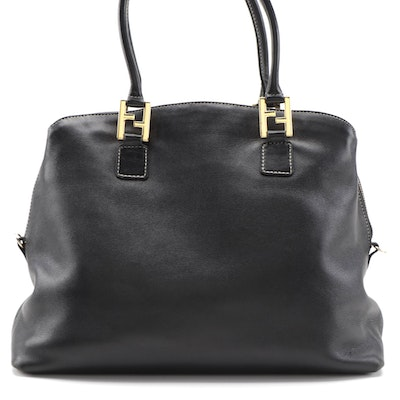 Fendi Two-Way Domed Satchel Bag in Black Leather with Contrast Stitching