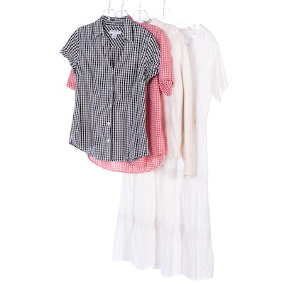 Liz Claiborne and Laura Gayle Gingham Shirts with Other White Sweater and Dress