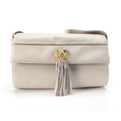 Salvatore Ferragamo Beige Leather Front Flap Bag with Tassel