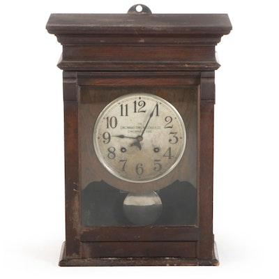 The Cincinnati Time Recorder Co. Oak Case Pendulum Clock, Early 20th Century