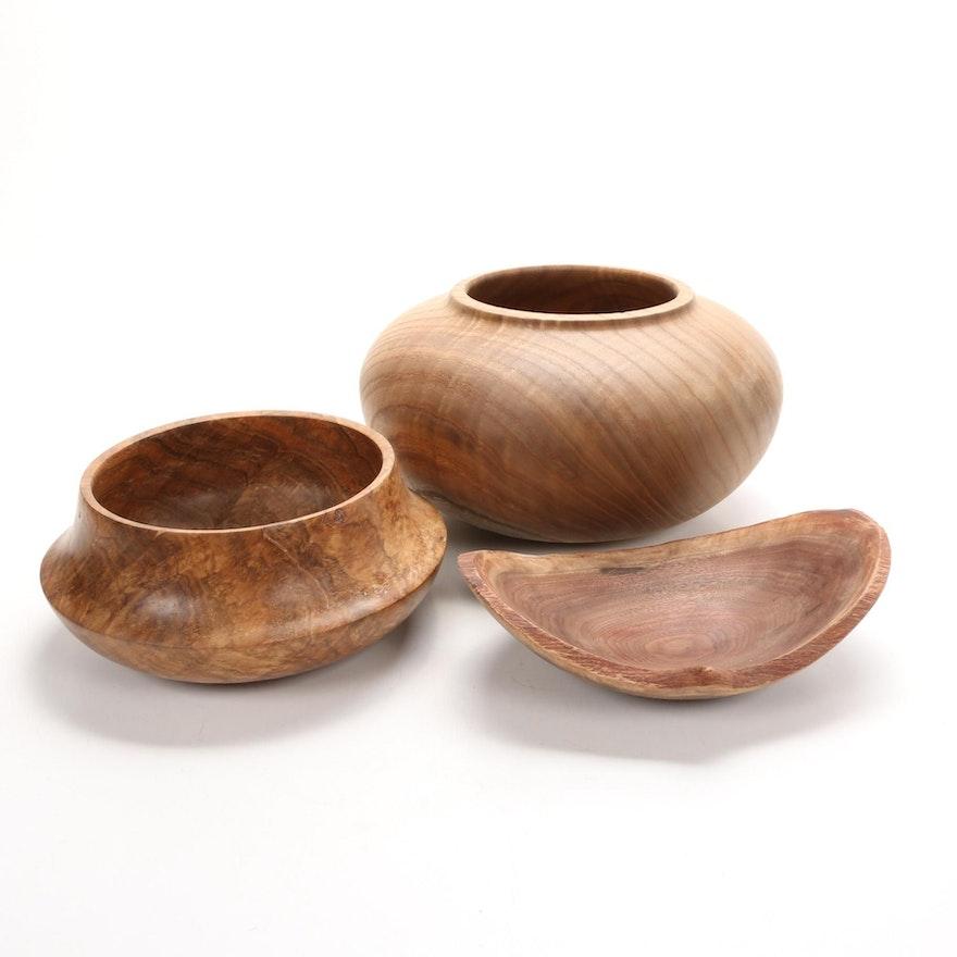 Jim Eliopulos Turned Walnut, Pin Oak, and Catalpa Wood Freeform Bowls