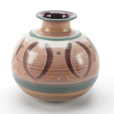 Porta Celi Hand-Painted Ceramic Bud Vase, Mid to Late 20th Century