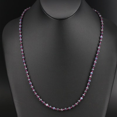 Ruby and Corundum Beaded Necklace