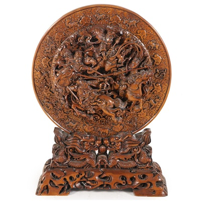 Chinese Carved Wood Relief Sculpture of Soldiers on Horseback