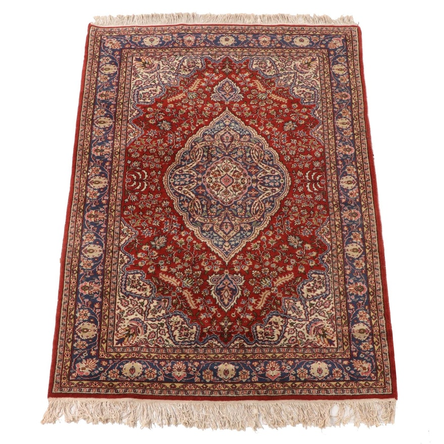 4'5 x 7'3 Hand-Knotted Indo-Persian Tabriz Wool Area Rug
