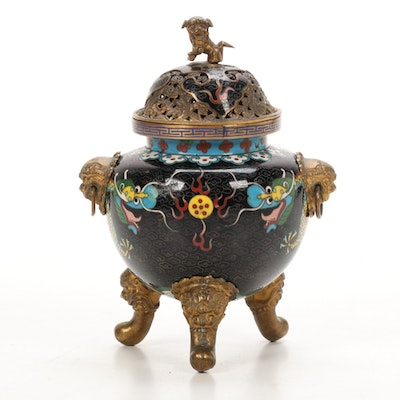 Chinese Cloisonné Enamel Dragon and Guardian Lion Motif Censer