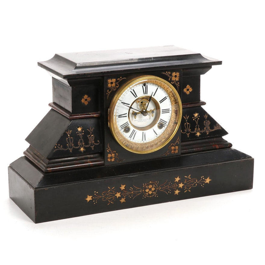Ansonia Clock Co. Cast Iron Mantel Clock, Late 19th/Early 20th Century