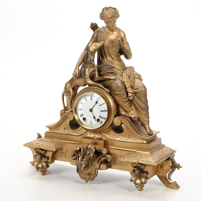 Mitchell Vance & Co. Goddess Diana Gilt Metal Mantel Clock