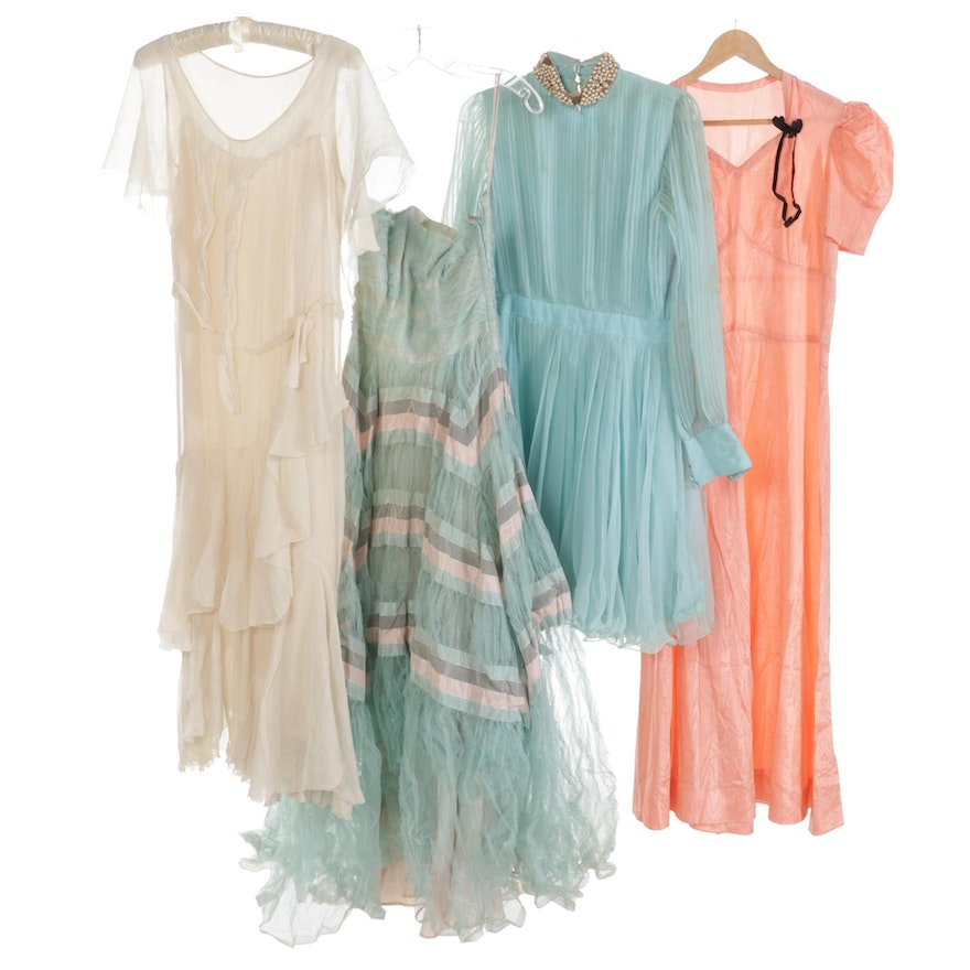 Silk Chiffon Tiered Ruffled Dress, Tulle Strapless Dress, Pleated Dress and More