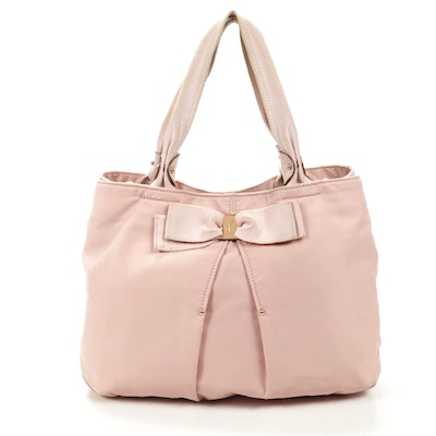 Salvatore Ferragamo Tote in Blush Nylon with Grosgrain and Leather Trim