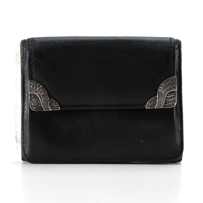 Judith Jack Sterling Silver and Marcasite Embellished Black Leather Wallet