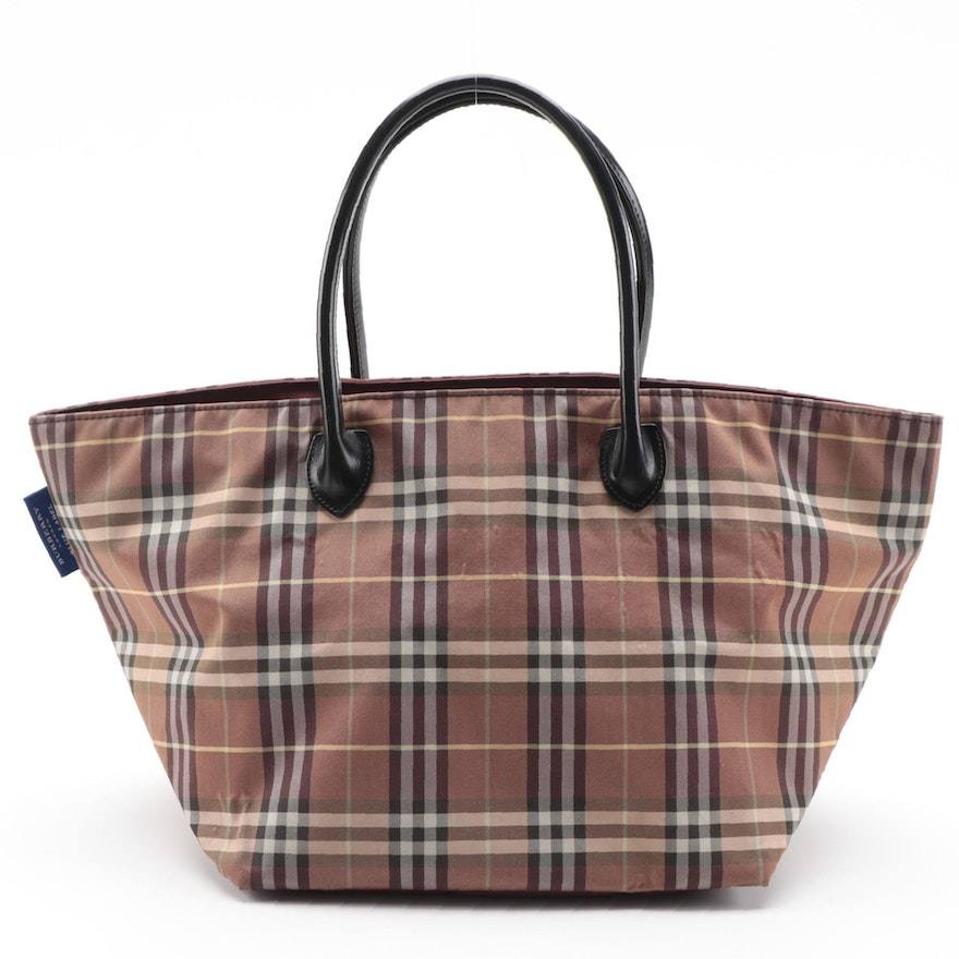 Burberry Blue Label Check Tote Bag with Black Leather Handles