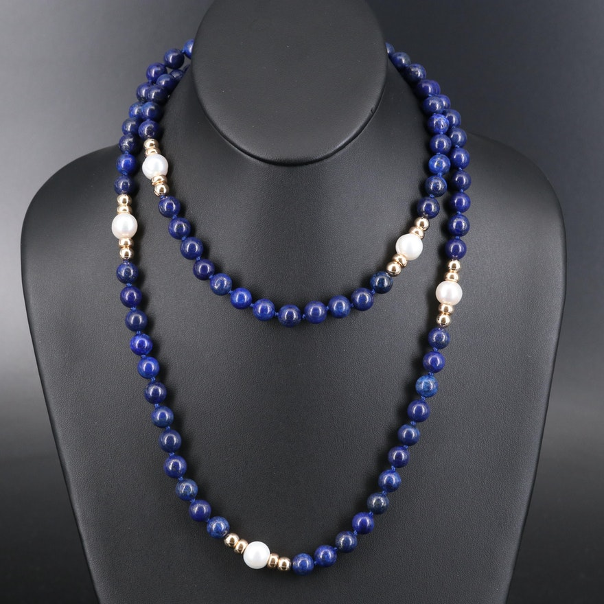 Lapis Lazuli and Pearl Beaded Necklace with 18K Clasp