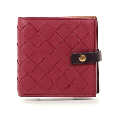 Bottega Veneta Bifold Wallet in Magenta Intrecciato and Aubergine Leather