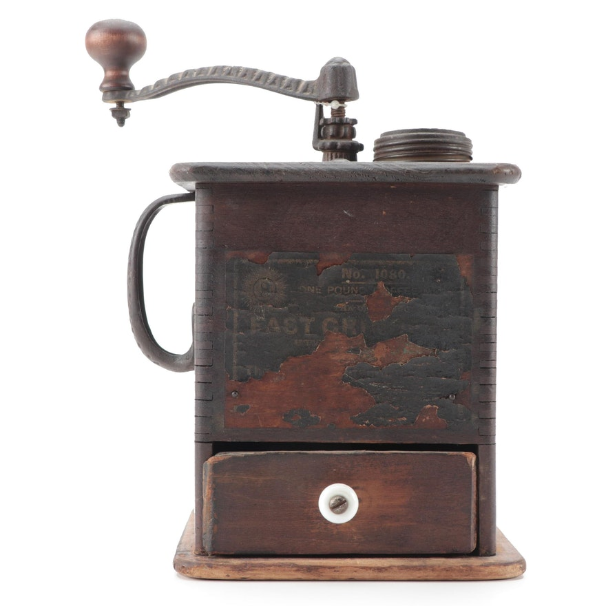 Hand-Cranked Wood and Cast Iron Coffee Grinder, Late 19th to Early 20th Century