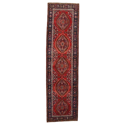 3'9 x 14'1 Hand-Knotted Persian Heriz Carpet Runner