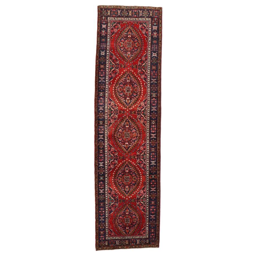 3'9 x 14'1 Hand-Knotted Persian Heriz Carpet Runner
