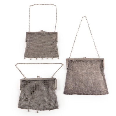 German Silver Metal Mesh Frame Bags with Kiss Lock Clasps and Chain Straps