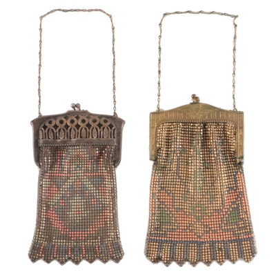 Whiting & Davis Enamel Mesh Frame Bags with Kiss Lock Clasps and Chain Straps